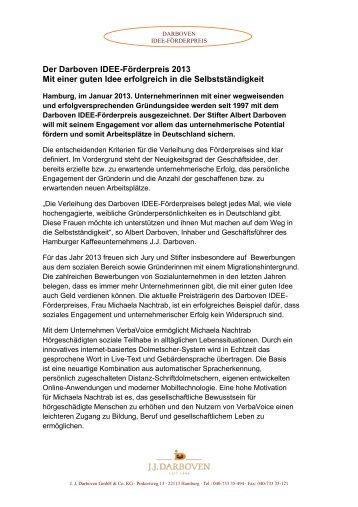 Der Darboven IDEE-Förderpreis 2013 Mit einer guten Idee ...