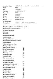 Franchise-Geber Anschrift PLZ Ort Vorwahl Telefon Telefax Email ...