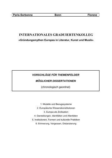 Paris-Sorbonne Bonn Florenz - Gründungsmythen Europas in ...