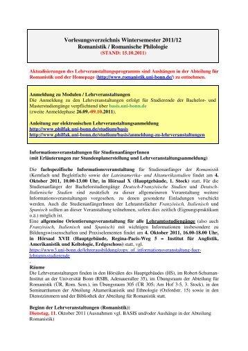 Vorlesungsverzeichnis Wintersemester 2011/12 ... - Universität Bonn