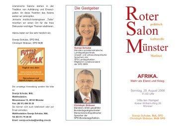 """Roter Salon, Sonntag, 20. August 06, 11.00 Uhr: """"AFRIKA - Mehr als ..."""
