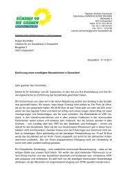 geantwortet - Bündnis 90/Die Grünen Düsseldorf