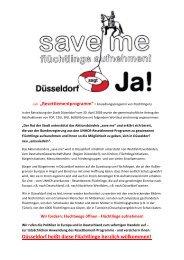 Aufruf für Düsseldorf Umsetzung des Resettlement-Programms