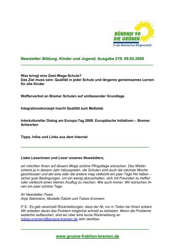 NL Bildung 219 09.05.2008 - Bündnis 90/Die Grünen ...
