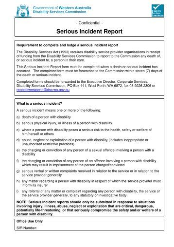 Positive behaviour team evaluation report disability for Serious incident report template