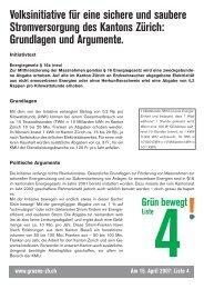 Grundlagen und Argumente. - Grüne Kanton Zürich