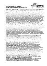 Jahresbericht des Präsidiums GRÜNE Stadt und Bezirk Winterthur ...