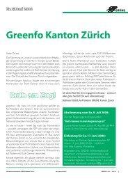 Ruth am Zug! Nr. 2/ Juni 2006 Greenfo Kanton Zürich