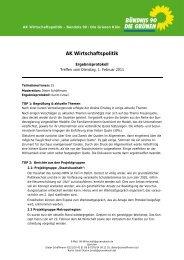 AK Wirtschaftspolitik - Bündnis 90/Die Grünen Kreisverband Köln