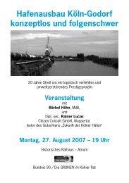 Hafenausbau Köln-Godorf konzeptlos und folgenschwer