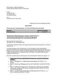 Teilaufhebung und Änderung der Verwaltungsvorschläge Antrag