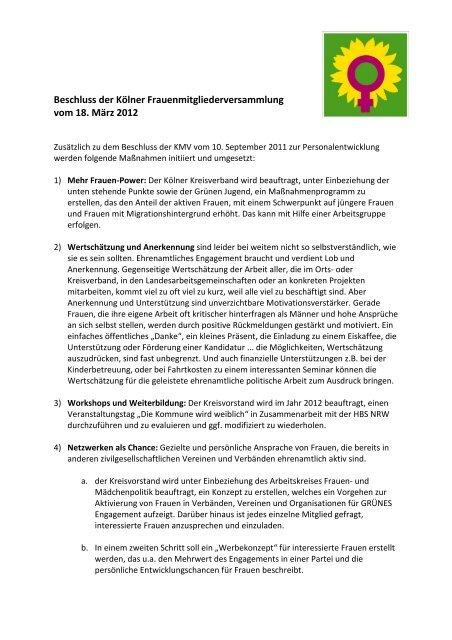 Antrag - Bündnis 90/Die Grünen Kreisverband Köln