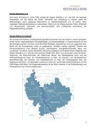 1 Region Köln/Bonn eV Seit seiner Gründung im Jahre 1992 verfolgt ...