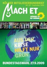 Nr. 217, September 2009 - Bündnis 90/Die Grünen Kreisverband Köln