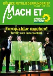 Nr. 215, Mai 2009 - Bündnis 90/Die Grünen Kreisverband Köln