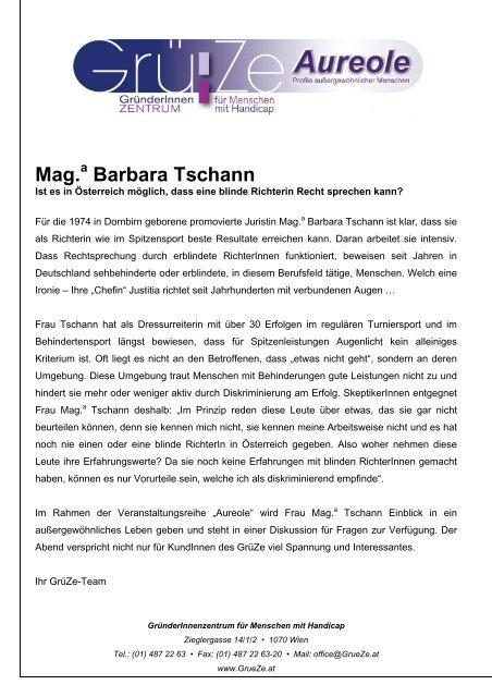 Mag. Barbara Tschann - GründerInnenzentrum für Menschen mit ...