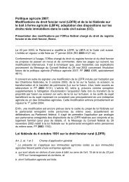 Politique agricole 2007: Modifications du droit foncier rural (LDFR ...