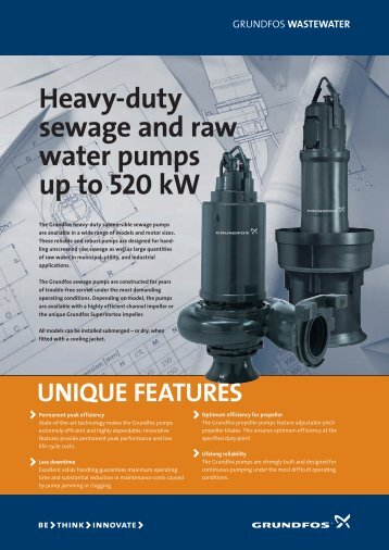 Heavy-duty sewage and raw water pumps up to 520 kW - Grundfos