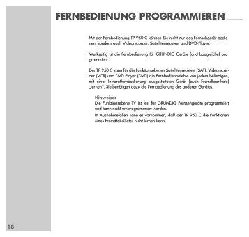 Lernfähige Fernbedienung TP850C/950C - Grundig-info.de