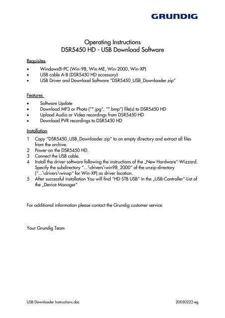 USB Download Software - Grundig