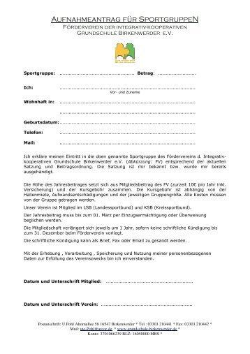 Beitrittserklärung Sport - Pestalozzi - Grundschule Birkenwerder