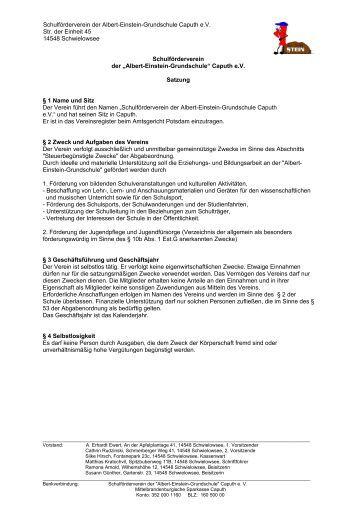 Schulförderverein der Albert-Einstein-Grundschule Caputh e.V. Str ...
