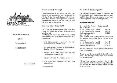 Infoblatt Zur Kernzeitbetreuung Grundschule Herbolzheim