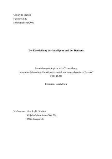 Die Entwicklung der Intelligenz und des Denkens - Universität Bremen