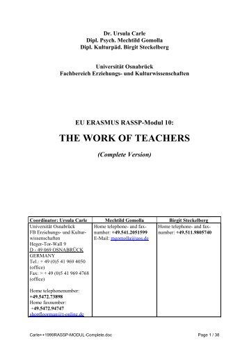 THE WORK OF TEACHERS (EU ERASMUS RASSP-Modul 10 ...