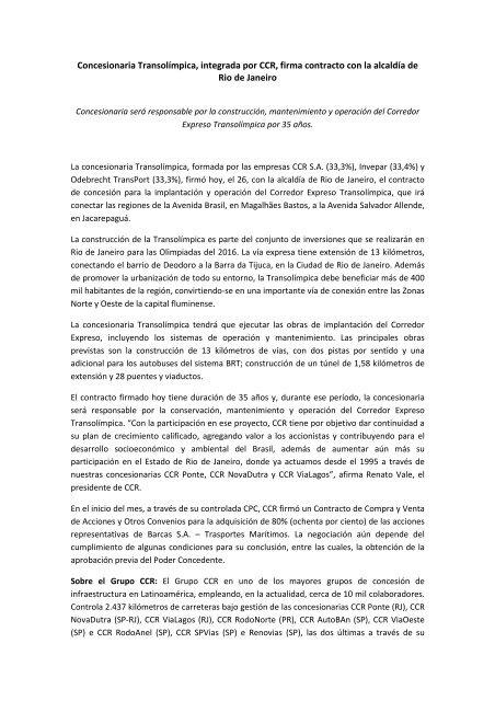 Concesionaria Transolímpica, integrada por CCR ... - Grupo CCR