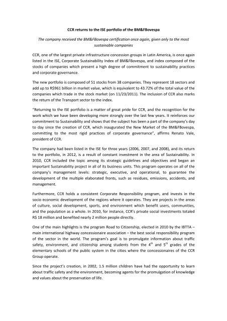 CCR returns to the ISE portfolio of the BM&FBovespa ... - Grupo CCR