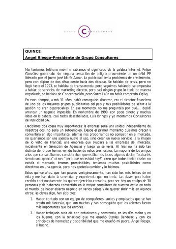 QUINCE Angel Riesgo-Presidente de Grupo Consultores No ...