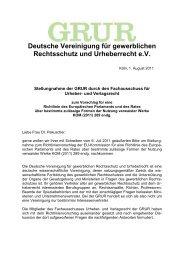 Stellungnahme vom 1. August 2011 zum Vorschlag für eine ... - GRUR