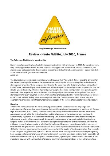 Review by Haute Fidélité Products: Mirage & Colosseum Country