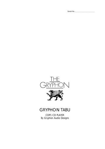 GRYPHON TABU - Gryphon Audio Designs