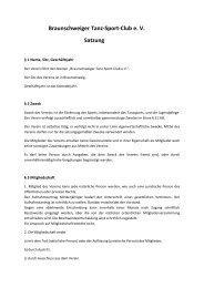 Braunschweiger Tanz-Sport-Club e. V. Satzung