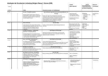 Arbeitsplan der Grundschule Lichtenberg Religion Klasse 2 ...