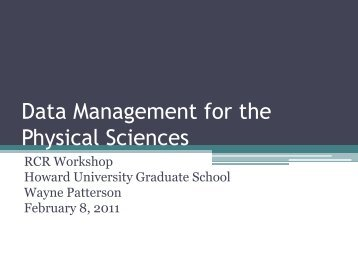 Data Management - Howard University, Graduate School