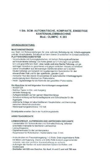 1 Stk. SCM- AUTOMATISCHE, KOMPAKTE, EINSEITIGE ...