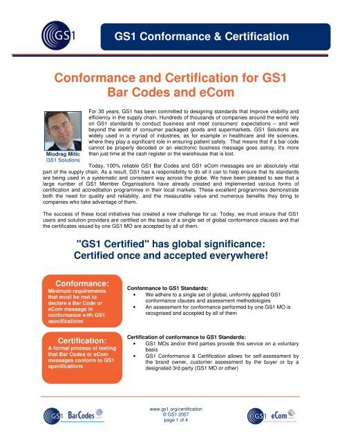 Conformance and Certification for GS1 Bar Codes and eCom