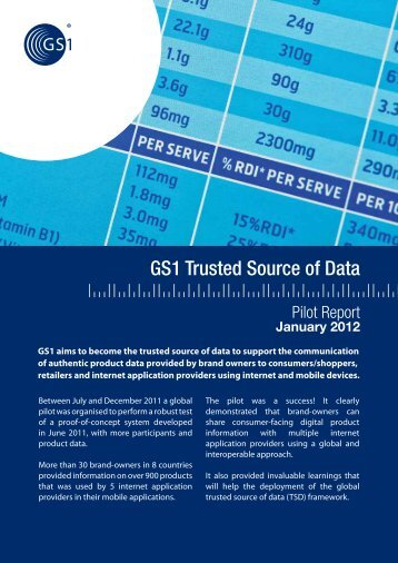 Trusted Source of Data Pilot Report - GS1