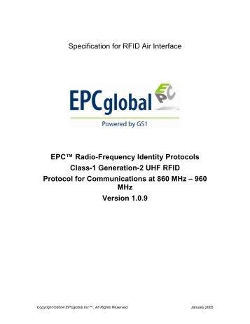 Class-1 Generation-2 UHF RFID Protocol - GS1