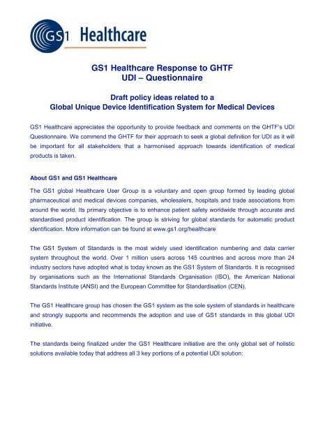 Response to GHTF UDI-questionnaire - GS1