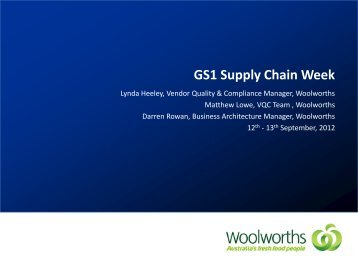 Woolworths Presentation - GS1 Australia