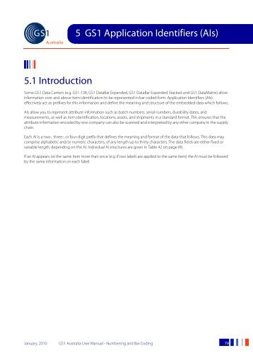 GS1 Australia User Manual - Numbering and Bar Coding