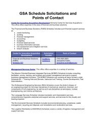 GSA Schedule Solicitations and Points of Contact
