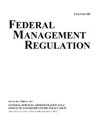 FEDERAL MANAGEMENT REGULATION - GSA