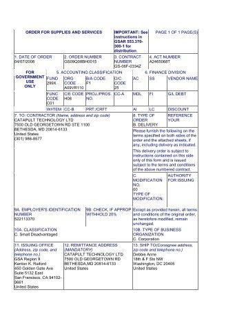 Order Number - GSA