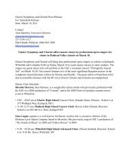 Glacier Symphony and Chorale offers master classes by ...