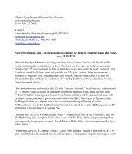 Glacier Symphony and Chorale announces schedule for Festival ...